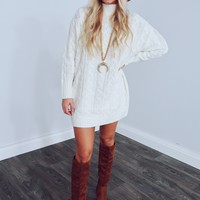 I Adore You Sweater Dress: Ivory