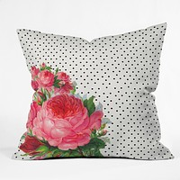 Allyson Johnson Floral Polka Dots Throw Pillow