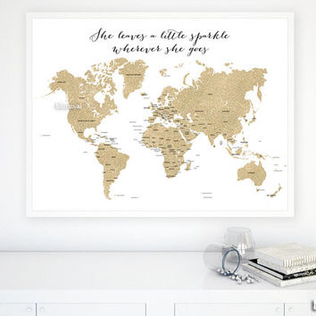 "40x30"" PRINTABLE world map, gold glitter map with countries and names, She leaves a little sparkle wherever she goes gold map - map039 001"