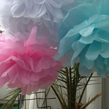 "Set of 3 Tissue Pom Poms Party Decoration Paper Pompoms Tissue Poms Wedding Decorations Ceremony Decor Paper Flower 14""12"" Turquoise Pink"