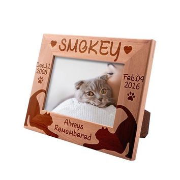 Personalized Picture Frame 4x6 Pet Memorial for Cats, Lazy Cats, Custom Engraved with Dog's Name & Years - Cat Owner Gift