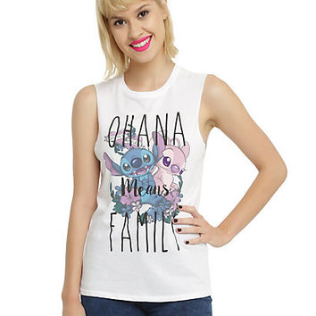 Disney Lilo & Stitch Ohana Means Family Girls Muscle Top