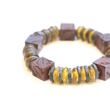 tribal jewelry / african bracelet / yellow amber glass brown wood bracelet / bohemian african inspired / stretch beaded bracelet geometric