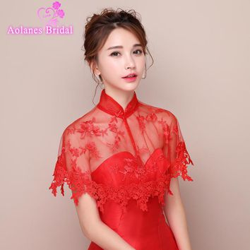 2017 New Arrival Top Sale Red Off the Shoulder Lace Bolero Jacket Bridal Wedding Shawl Wraps for Evening Custom Made Real Photos