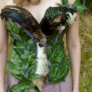 Feather corset, bustier,leaf,embellished corset, fantasy, duck, bird, feathers, fairie,bustier, fur, high fashion
