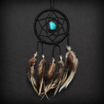 Black Turquoise Stone Car Mirror Dream Catcher
