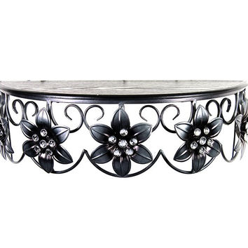 Customary Styled Metal Wall Shelf with Flowers