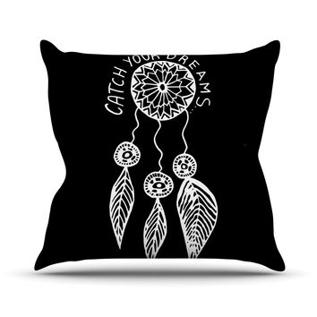 "Vasare Nar ""Catch Your Dreams Black"" White Typography Throw Pillow"