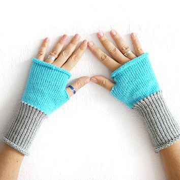 Grey turquoise fingerless mittens, Hand knit gloves mittens, Wool glove mitten, Arm warmers