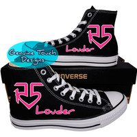 Custom Converse, R5, R5 LOUDER Fanart shoes, R5 Pink logo, Custom chucks, painted shoes, personalized converse hi tops