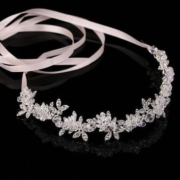 CREYCI7 Transparent Crystal bridal tiaras headband bride wreath wedding flower headdress noble hair ornament hair Jewelry Hair Band