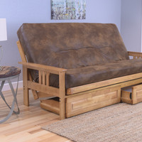 Andover Full Size Futon Sofa Bed and Drawer Set, Honey Oak Wood Frame, Bonded Leather Innerspring Mattress, Tobacco