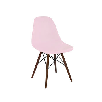 Trige Baby Pink Side Chair with Walnut Wood Base (Set of 5)