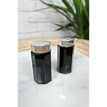 Octagon Black Glass  Salt & Pepper Shakers