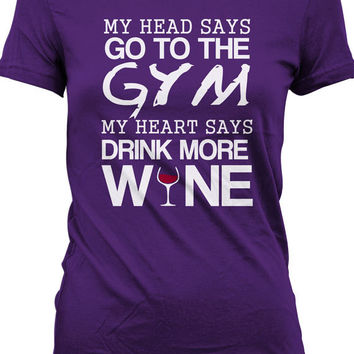 Funny Workout Shirt Gifts For Wine Lovers Gym T Shirt Drinking T-Shirt Joke Ladies Tee MD-141
