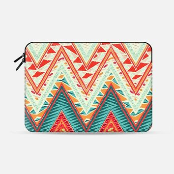 "SUMMER ETHNIC CHEVRON - MACBOOK SLEEVE Macbook 12"" sleeve by Nika Martinez 