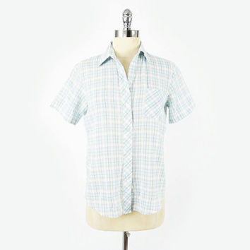 vtg 80s preppy blue PLAID soft paper thin SKINNY FIT boyfriend short sleeve button up dress shirt top S M