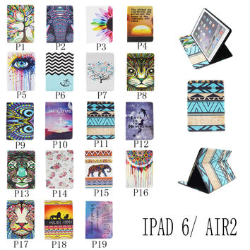 For Apple iPad Air 2 Painting Print Flip PU Leather Case Tablet Cover with Wallet Card Holder
