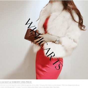 2014 New Women Winter Fall Faux Fur Imitation Short Coat Outwear Jacket Overcoat Top Cape (Size: L, Color: White) = 1929970628