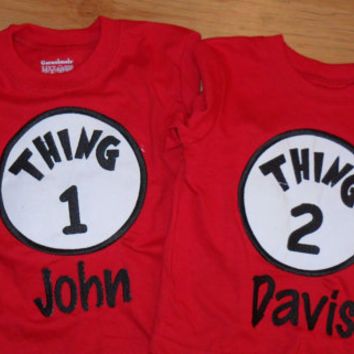 Thing 1 & Thing 2 Shirts (Custom Made Set)