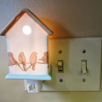Porcelain Night Light Plug In Birdhouse Night Light Hand Painted Ceramic