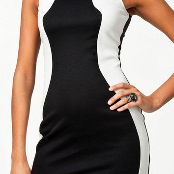 Fashion White Patched Sides Black Mini Dress