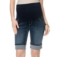 Oh Baby by Motherhood Mid-Belly Cuffed Jean Bermuda Shorts - Maternity, Size: