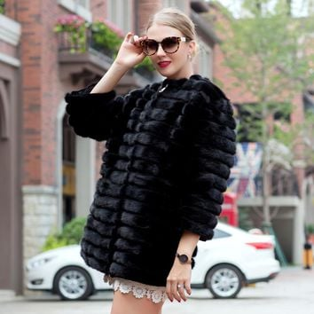 2018 autumn and winter hot sale mink coat women's natural striped black leather jacket mink fur coat fashion warm PDH-1021