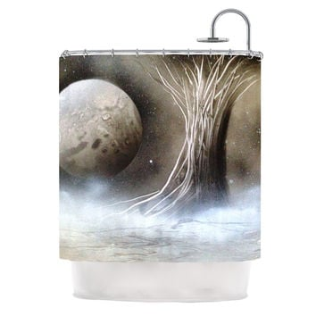 "Infinite Spray Art ""Black White Tree"" Gray Space Shower Curtain"