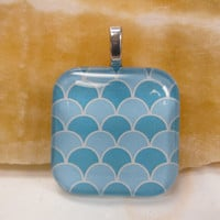 "Blue Abstract Waves- Glass Pendant - 1.3"" Sq"