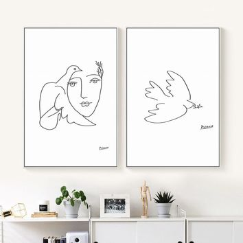 Picasso Peace Dove Abstract Black And White Line Art Painting Canvas Print Poster Picture Wall Living Room Home Decor