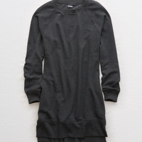 Aerie Long Sleeve Fleece Dress, Smoked Gray