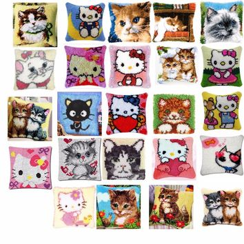 Latch Hook Kit cats 2 Cushion  Pillow Mat DIY Craft Flower 42CM 42CM