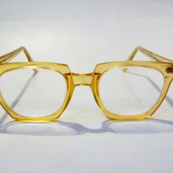 Vintage WILLSON Safety Glasses INDUSTRIAL Golden 1950s
