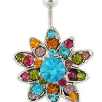 Unique sunflowers Hinged Belly Button Ring