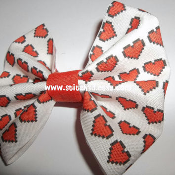 the Original Legend of Zelda Heart Container Fabric hair bow