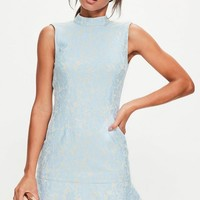 Missguided - Blue Lace Double Frill Hem Bodycon Dress