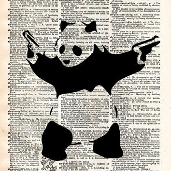 Banksy Panda with guns print, Panda bear art,Banksy wall art, vintage dictionary art