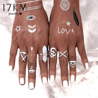 17KM 6 PCS Natural Stone Rings Sets Vintage Bohemian Turkish Midi Ring Set Steampunk Snake Joint Ring Knuckle Rings for Women