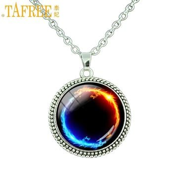 TAFREE New Energy Healing jewelry Ying Yang pendant infinity Tai Ji sun and moon Chain Necklace Fashion Dragon Cat charms P119