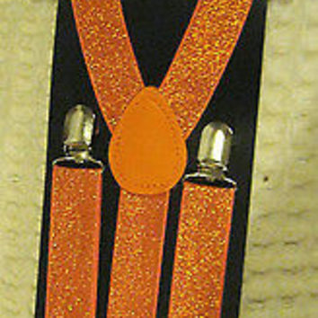 Solid Orange Diamond Mesh Pattern Bow Tie & Orange Glitter Y-Back Suspenders Set