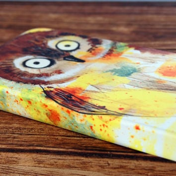 iPhone 4 phone case - Owl - watercolor art cute cellphone cover phone hard-case cell accessory barn owl bird Canadian painting Oladesign