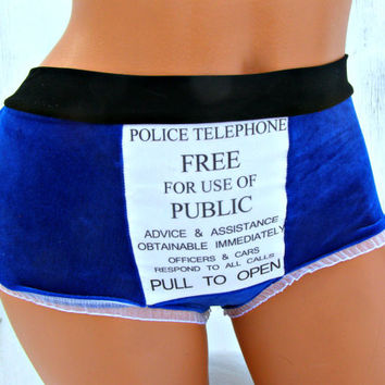 TARDIS inspired geek Panties Lingerie your size Police box blue velvet