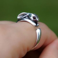 925 Sterling Silver Bunny Ring by forevervintage on Zibbet