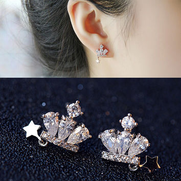 Korean Crown Lovely Diamonds Stylish Strong Character Earrings [10399363092]