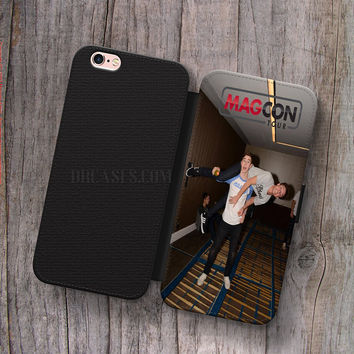 Wallet Leather Case for iPhone 4s 5s 5C SE 6S Plus Case, Samsung S3 S4 S5 S6 S7 Edge Note 3 4 5 Nash Grier and Cameron Dallas Fun Cases