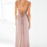 Luna Tie Back Maxi Dress Choc.