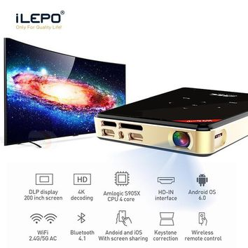 H96-P DLP Mini Projector 2G 16G Android 6.0 Wifi Projectors All-in-one 30-200 inches Amlogic S905X Portable Projector with Wireless Remote