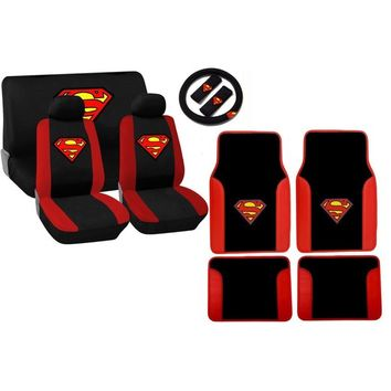 Red and Black Superman Stitched Logo 15-piece Seat Cover Set | Overstock.com Shopping - The Best Deals on Car Seat Covers