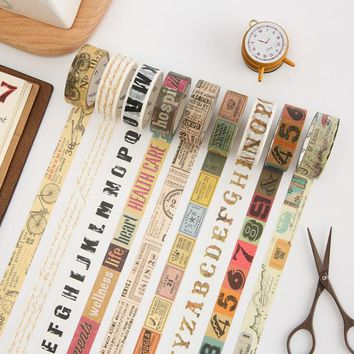 1.5cm Wide Creative Vintage Decorative Washi Tape DIY Scrapbooking Masking Tape School Office Supply